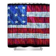 Rustic American Flag Shower Curtain