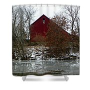 Rustic Barn By The Frozen Lake Shower Curtain