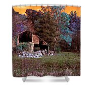 Rustic Barn In Disrepair False Color Infrared Shower Curtain