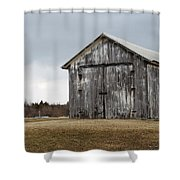 Rustic Barn With Dark Clouds Shower Curtain
