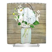 Rustic Country White Hydrangea N Matillija Poppy Mason Jar Bouquet On Wooden Fence Shower Curtain