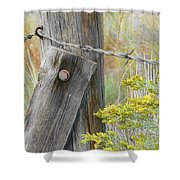 Rustic Fence And Wild Flowers Montana Shower Curtain