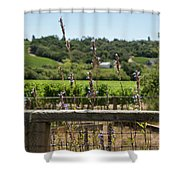 Rustic Fence In Wine Country Shower Curtain