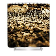 Rustic Mountain Bikes Shower Curtain