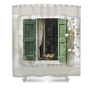 Rustic Open Window With Green Shutters Shower Curtain