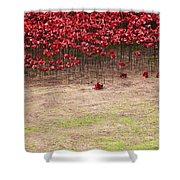 Rustic Poppy Garden Shower Curtain