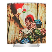 Rustic Red Xmas Stocking Shower Curtain