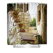 Rustic Steps In Crete Shower Curtain
