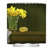 Rustic Still Life With Daffodils Shower Curtain