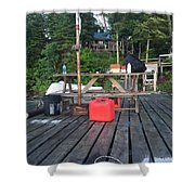 Rustic Summer Dock Shower Curtain