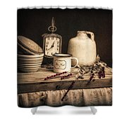 Rustic Table Setting Still Life Shower Curtain