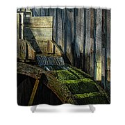 Rustic Water Wheel With Moss Shower Curtain