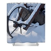 Rustic Wheel In The Snow#2 Shower Curtain