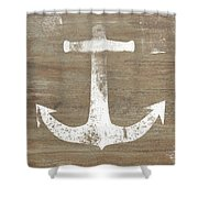 Rustic White Anchor- Art By Linda Woods Shower Curtain