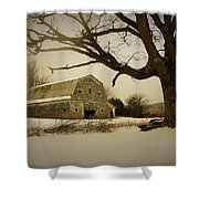 Rustic White Barn In Winter - Boone N.c.  Shower Curtain