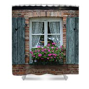 Rustic Window And Red Bricks Wall Shower Curtain by Yair Karelic