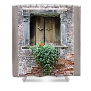 Rustic Wooden Window Shutters Shower Curtain