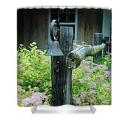 Rusty Bell On Weathered Fence Shower Curtain