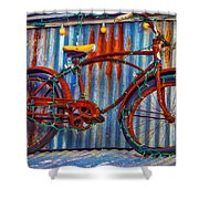 Rusty Bike With Lights Shower Curtain
