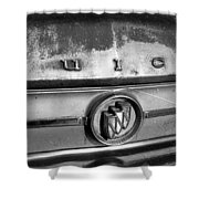 Rusty Buick Emblem Black And White Shower Curtain