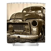 Rusty But Trusty Old Gmc Pickup Truck - Sepia Shower Curtain by Gordon Dean II
