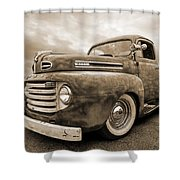 Rusty Jewel In Sepia - 1948 Ford Shower Curtain
