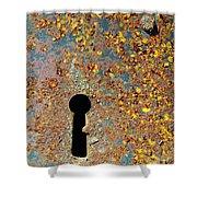 Rusty Key-hole Shower Curtain by Carlos Caetano