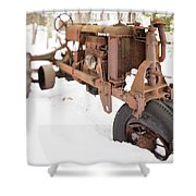 Rusty Old Steel Wheel Tractor In The Snow Tilt Shift Shower Curtain