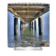 Rusty Pier  On The Ocean  From Below Shower Curtain