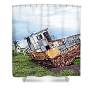 Rusty Retired Fishing Boat Shower Curtain