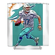 Ryan Tannehill Miami Dolphins Oil Art Shower Curtain