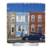 S Baltimore Row Homes - Wide Shower Curtain