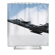 Saab Jas-39 Gripen Of The Czech Air Force Shower Curtain