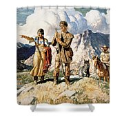 Sacagawea With Lewis And Clark During Their Expedition Of 1804-06 Shower Curtain by Newell Convers Wyeth