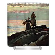 Saco Bay Shower Curtain by Winslow Homer