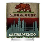 Sacramento City Skyline State Flag Of California Art Poster Series 023 Shower Curtain