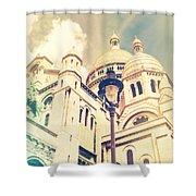 Sacre Coeur Church Vintage Shabby Chic Style Shower Curtain