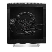 Sacred Black Scorpion On Black Canvas Shower Curtain