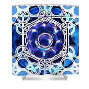 Sacred Geometry Blue Shapes Background Shower Curtain