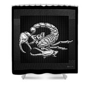 Sacred Silver Scorpion On Black Canvas Shower Curtain