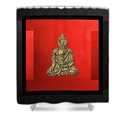 Sacred Symbols - Gold Buddha On Black And Red  Shower Curtain