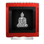 Sacred Symbols - Silver Buddha On Red And Black Shower Curtain