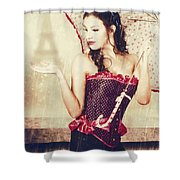Sad French Pin-up Woman. Loss In The City Of Love Shower Curtain