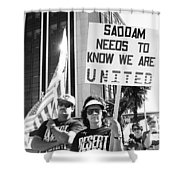 Saddam Needs To Know Pro Desert Storm Rally Tucson Arizona 1991 Shower Curtain