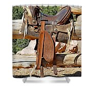 Saddle On Ranch Fence Shower Curtain
