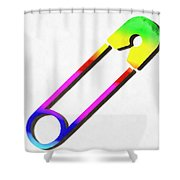 Safety Pin Rainbow Painting Shower Curtain