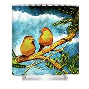 Saffron Finch Birds #88 Shower Curtain