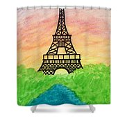 Saffron Sunset Over Eiffel Tower In Paris-watercolour  Shower Curtain