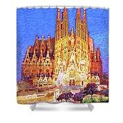 Sagrada Familia At Night Shower Curtain