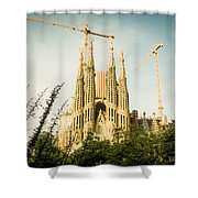 Sagrada Familia With Catalonia's Flag Shower Curtain